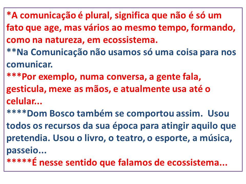 *A comunicação é plural, significa que não é só um fato que age, mas vários ao mesmo tempo, formando, como na natureza, em ecossistema. **Na Comunicaç