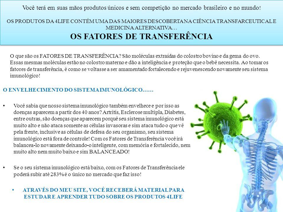 Você terá em suas mãos produtos únicos e sem competição no mercado brasileiro e no mundo ! OS PRODUTOS DA 4LIFE CONTÉM UMA DAS MAIORES DESCOBERTA NA C