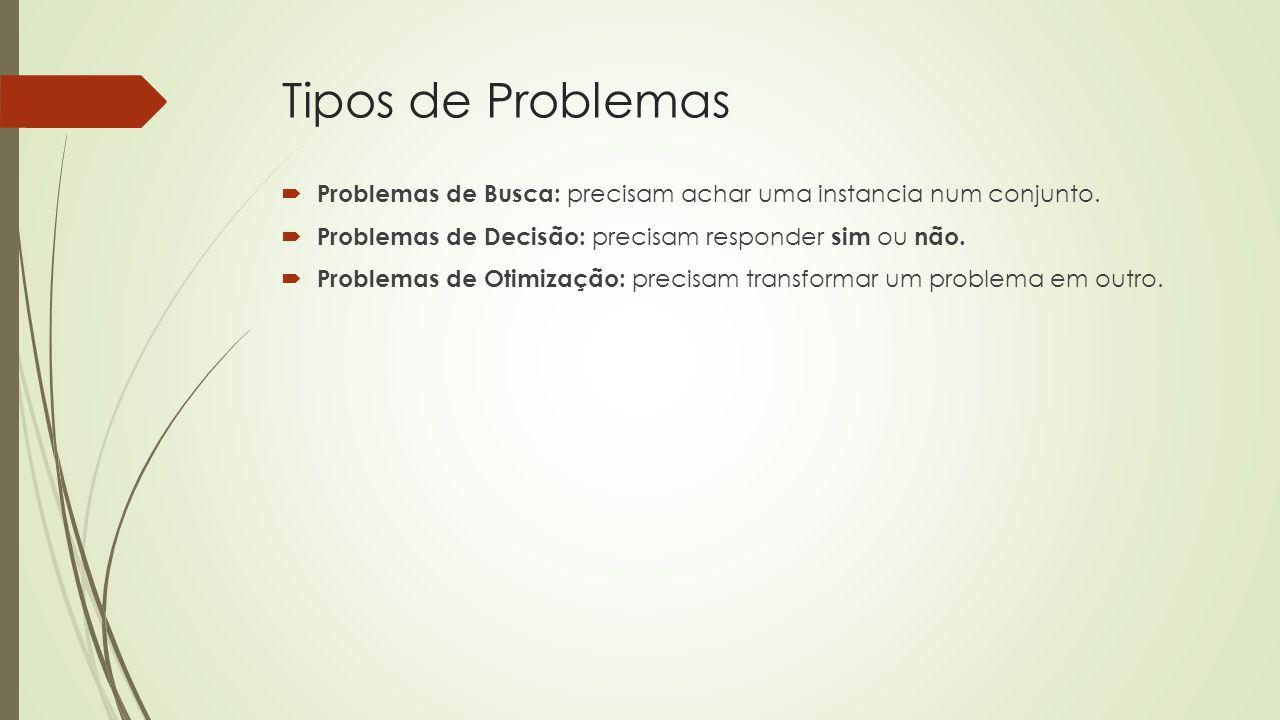 Tipos de Problemas  Problemas de Busca: precisam achar uma instancia num conjunto.  Problemas de Decisão: precisam responder sim ou não.  Problemas