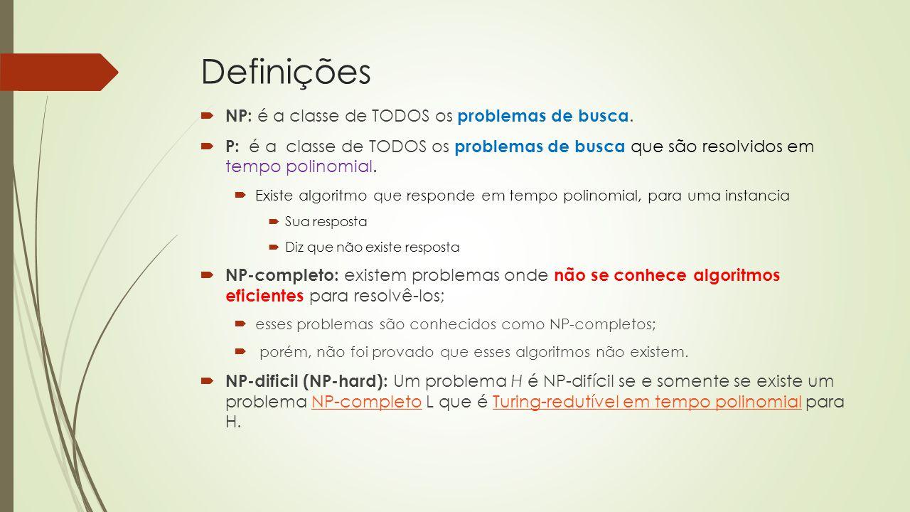Definições  NP: é a classe de TODOS os problemas de busca.  P: é a classe de TODOS os problemas de busca que são resolvidos em tempo polinomial.  E