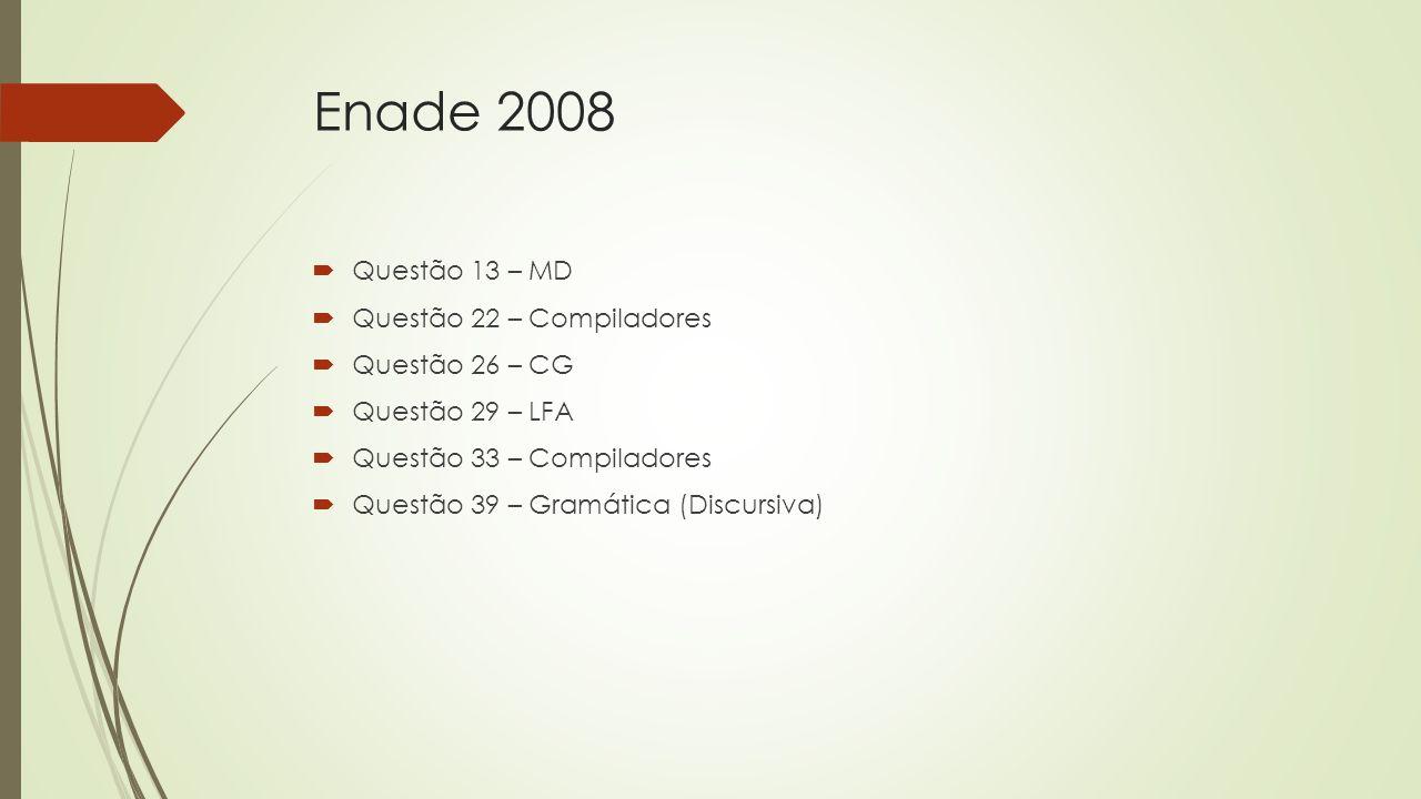 Enade 2008  Questão 13 – MD  Questão 22 – Compiladores  Questão 26 – CG  Questão 29 – LFA  Questão 33 – Compiladores  Questão 39 – Gramática (Di