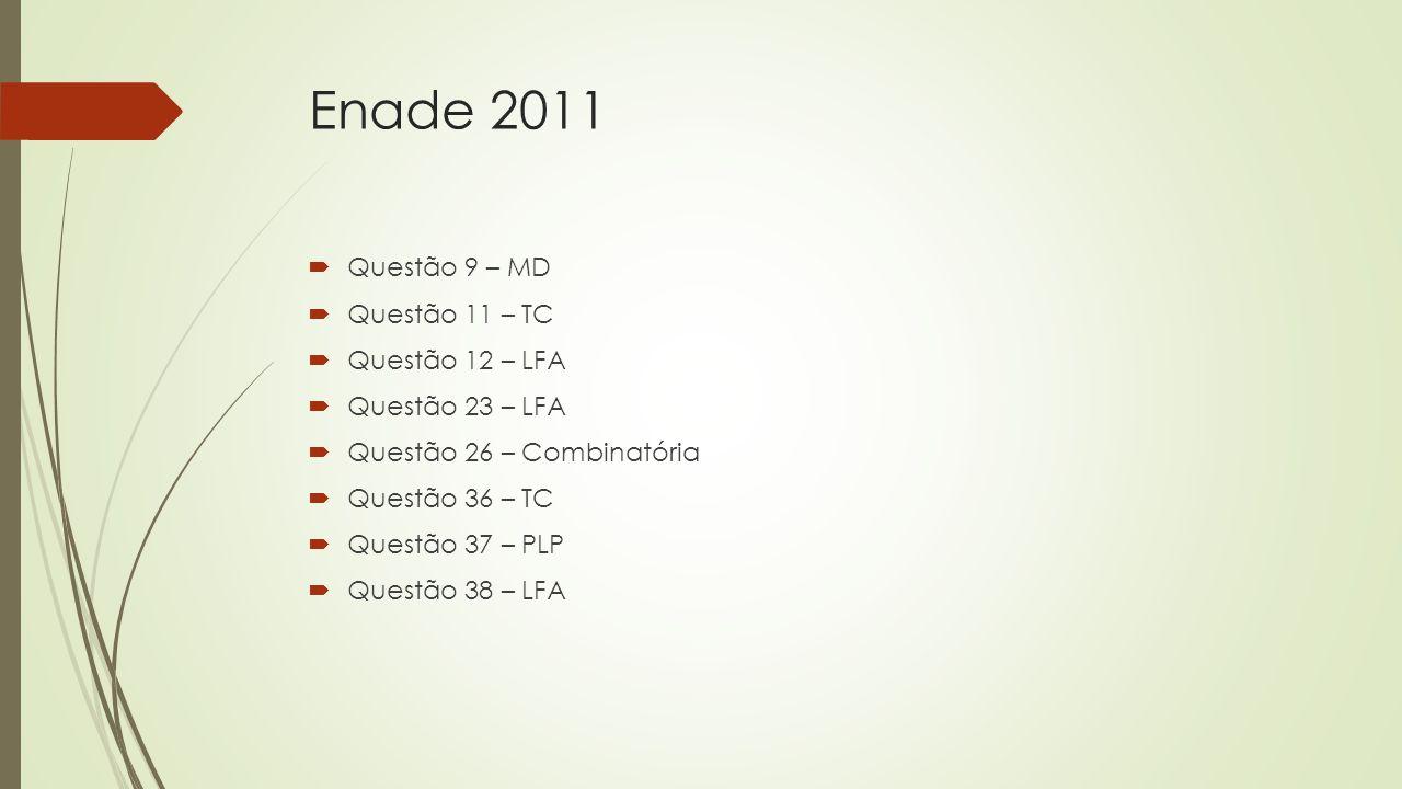 Enade 2011  Questão 9 – MD  Questão 11 – TC  Questão 12 – LFA  Questão 23 – LFA  Questão 26 – Combinatória  Questão 36 – TC  Questão 37 – PLP 
