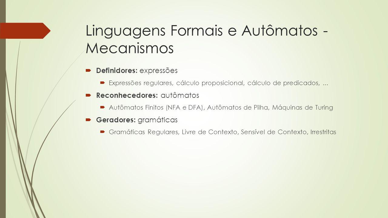 Linguagens Formais e Autômatos - Mecanismos  Definidores: expressões  Expressões regulares, cálculo proposicional, cálculo de predicados,...  Recon