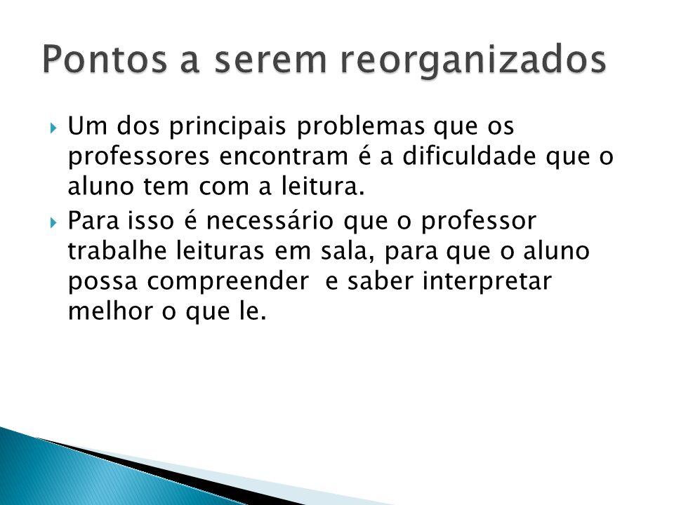  Um dos principais problemas que os professores encontram é a dificuldade que o aluno tem com a leitura.  Para isso é necessário que o professor tra