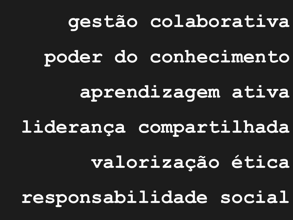 gestão colaborativa poder do conhecimento aprendizagem ativa liderança compartilhada valorização ética responsabilidade social