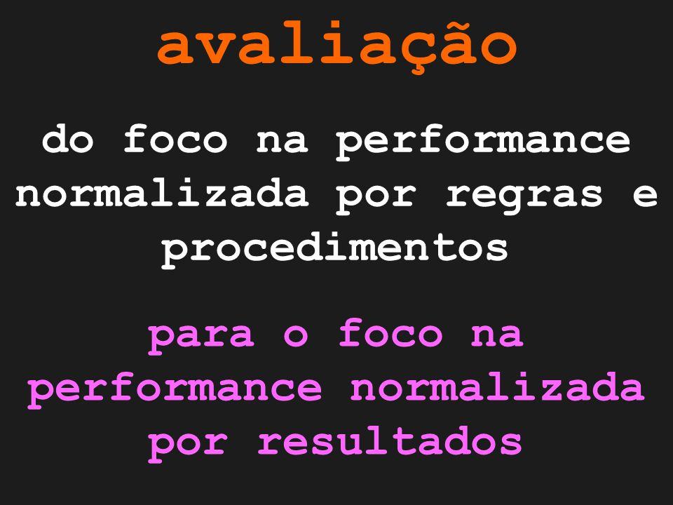 avaliação do foco na performance normalizada por regras e procedimentos para o foco na performance normalizada por resultados