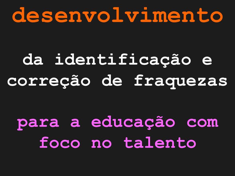 desenvolvimento da identificação e correção de fraquezas para a educação com foco no talento