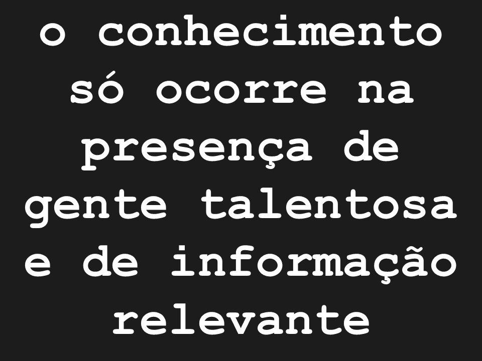 o conhecimento só ocorre na presença de gente talentosa e de informação relevante