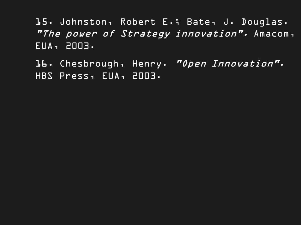 15. Johnston, Robert E.; Bate, J. Douglas. The power of Strategy innovation .