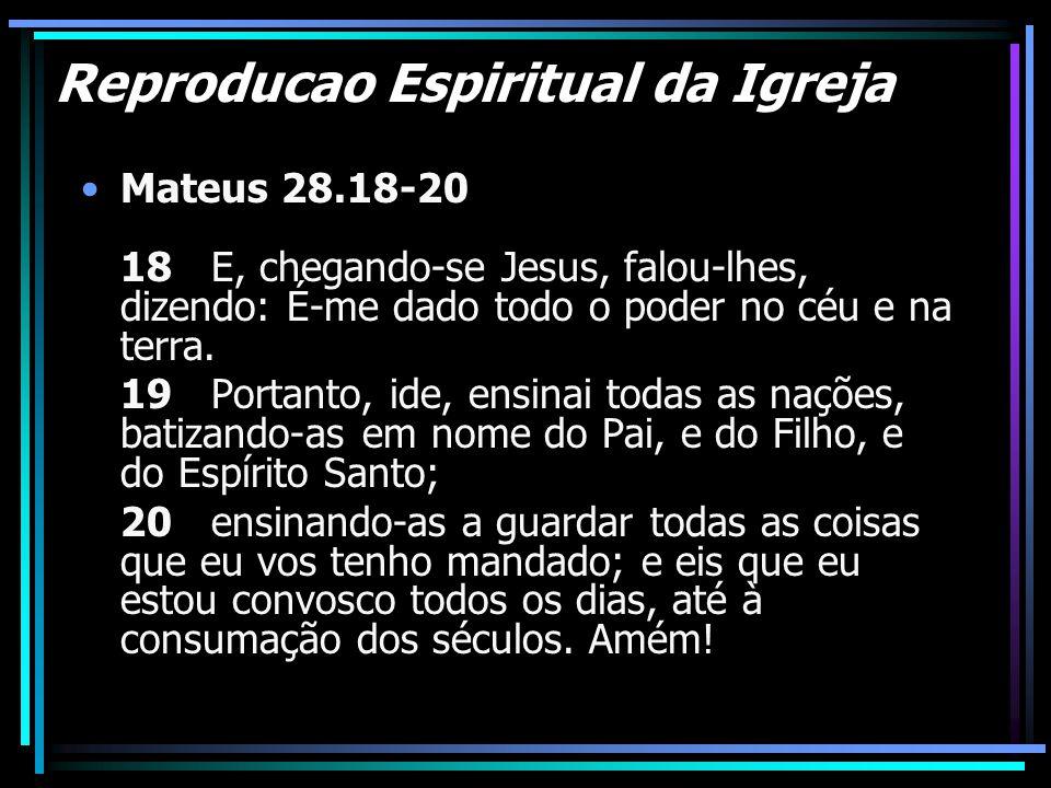 Reproducao Espiritual da Igreja Mateus 28.18-20 18 E, chegando-se Jesus, falou-lhes, dizendo: É-me dado todo o poder no céu e na terra. 19 Portanto, i