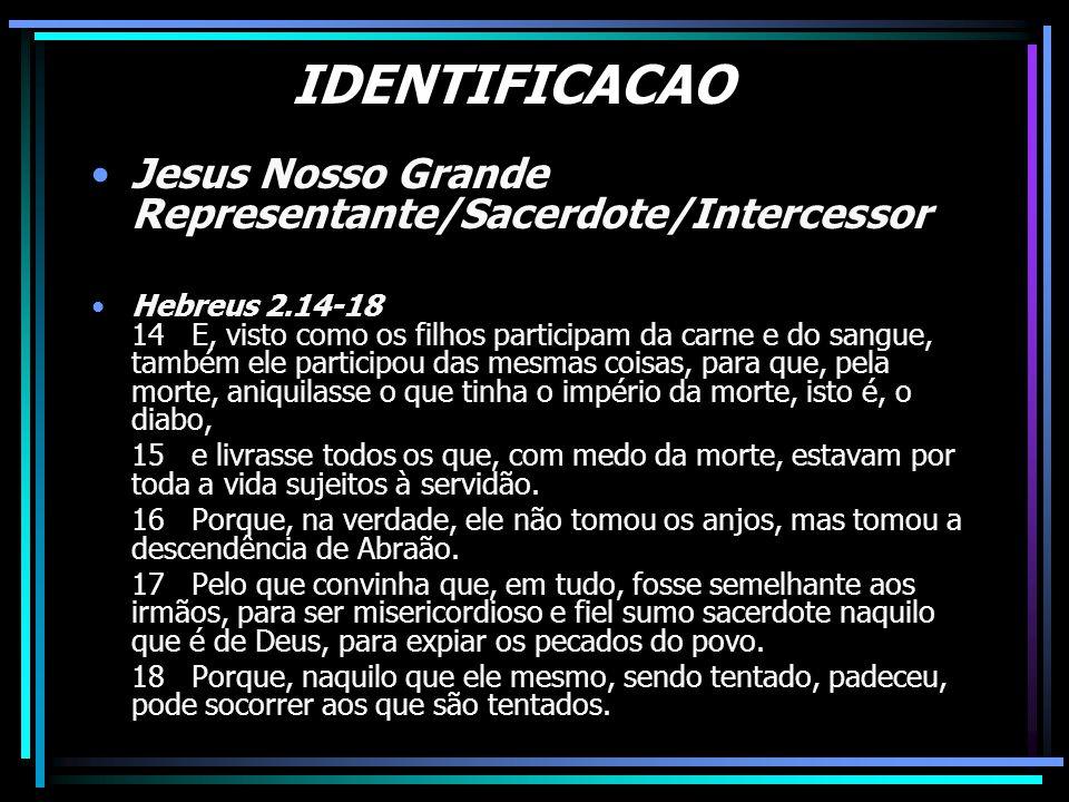IDENTIFICACAO Jesus Nosso Grande Representante/Sacerdote/Intercessor Hebreus 2.14-18 14 E, visto como os filhos participam da carne e do sangue, també