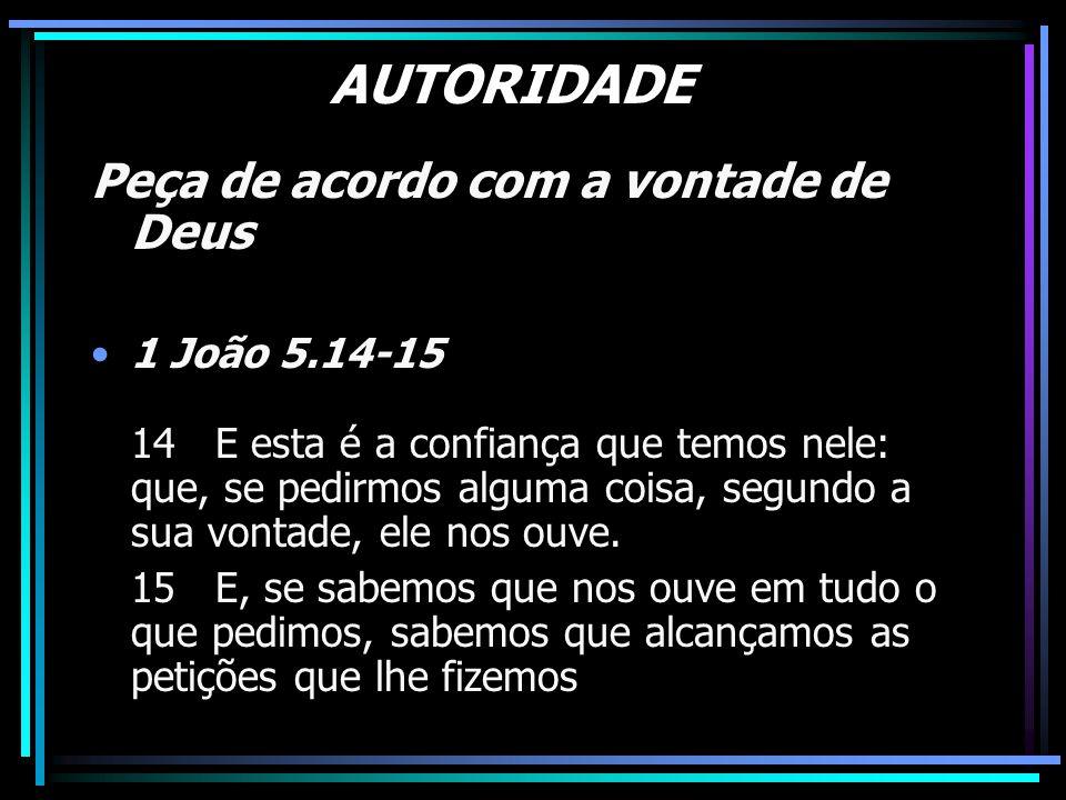 AUTORIDADE Peça de acordo com a vontade de Deus 1 João 5.14-15 14 E esta é a confiança que temos nele: que, se pedirmos alguma coisa, segundo a sua vo