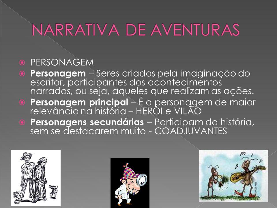  PERSONAGEM  Personagem – Seres criados pela imaginação do escritor, participantes dos acontecimentos narrados, ou seja, aqueles que realizam as açõ