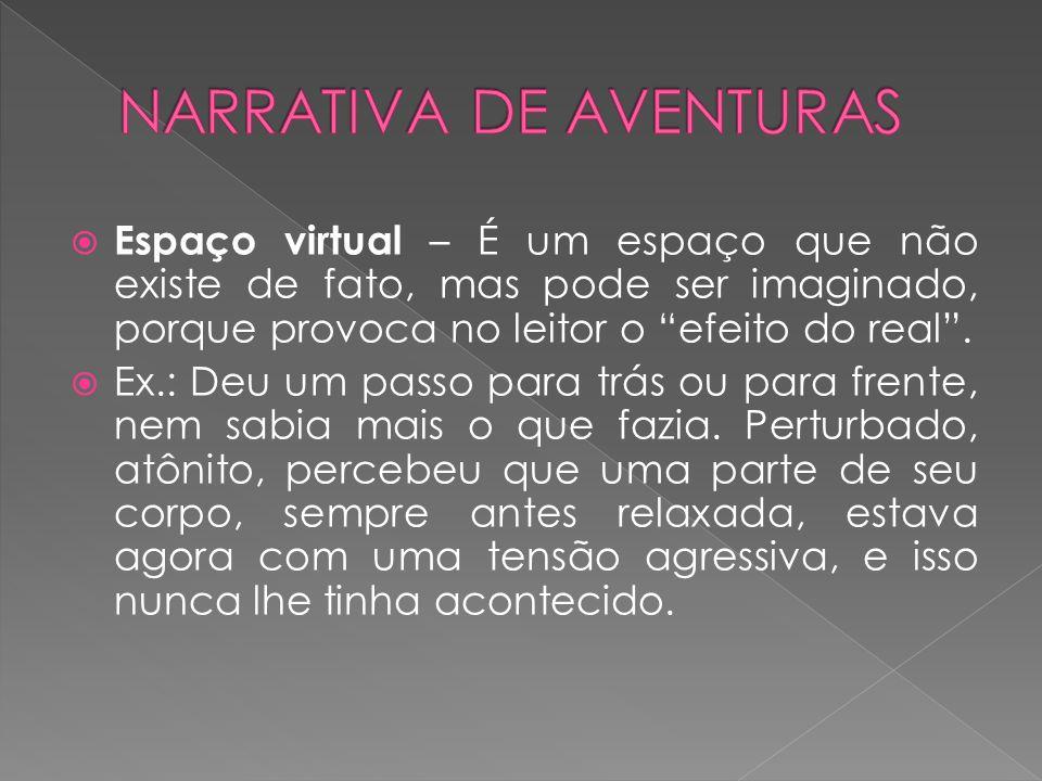 """ Espaço virtual – É um espaço que não existe de fato, mas pode ser imaginado, porque provoca no leitor o """"efeito do real"""".  Ex.: Deu um passo para t"""