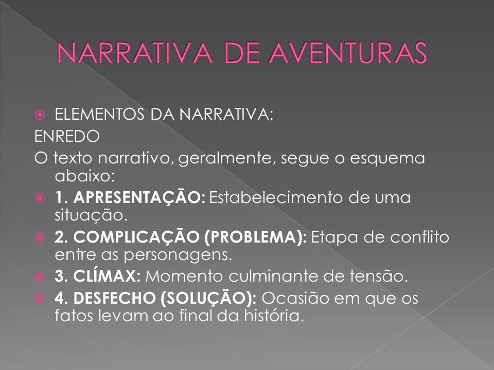  ELEMENTOS DA NARRATIVA: ENREDO O texto narrativo, geralmente, segue o esquema abaixo:  1. APRESENTAÇÃO: Estabelecimento de uma situação.  2. COMPL