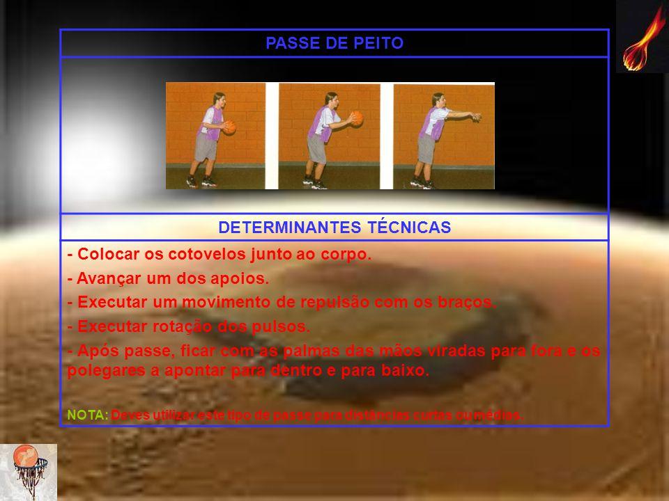 PASSE DE PEITO DETERMINANTES TÉCNICAS - Colocar os cotovelos junto ao corpo. - Avançar um dos apoios. - Executar um movimento de repulsão com os braço