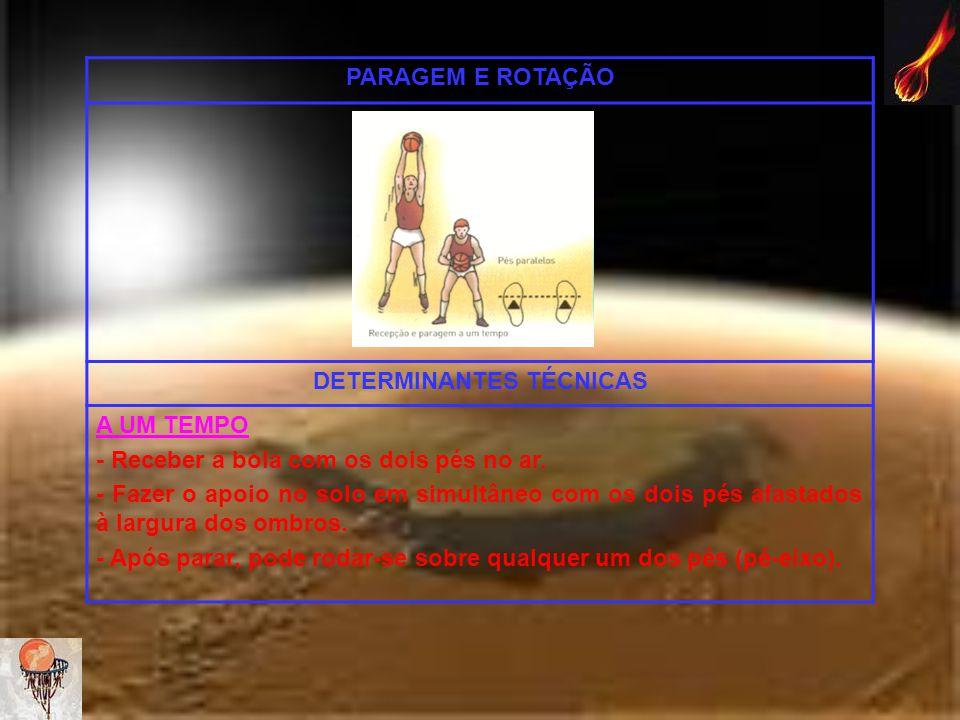 PARAGEM E ROTAÇÃO DETERMINANTES TÉCNICAS A UM TEMPO - Receber a bola com os dois pés no ar. - Fazer o apoio no solo em simultâneo com os dois pés afas
