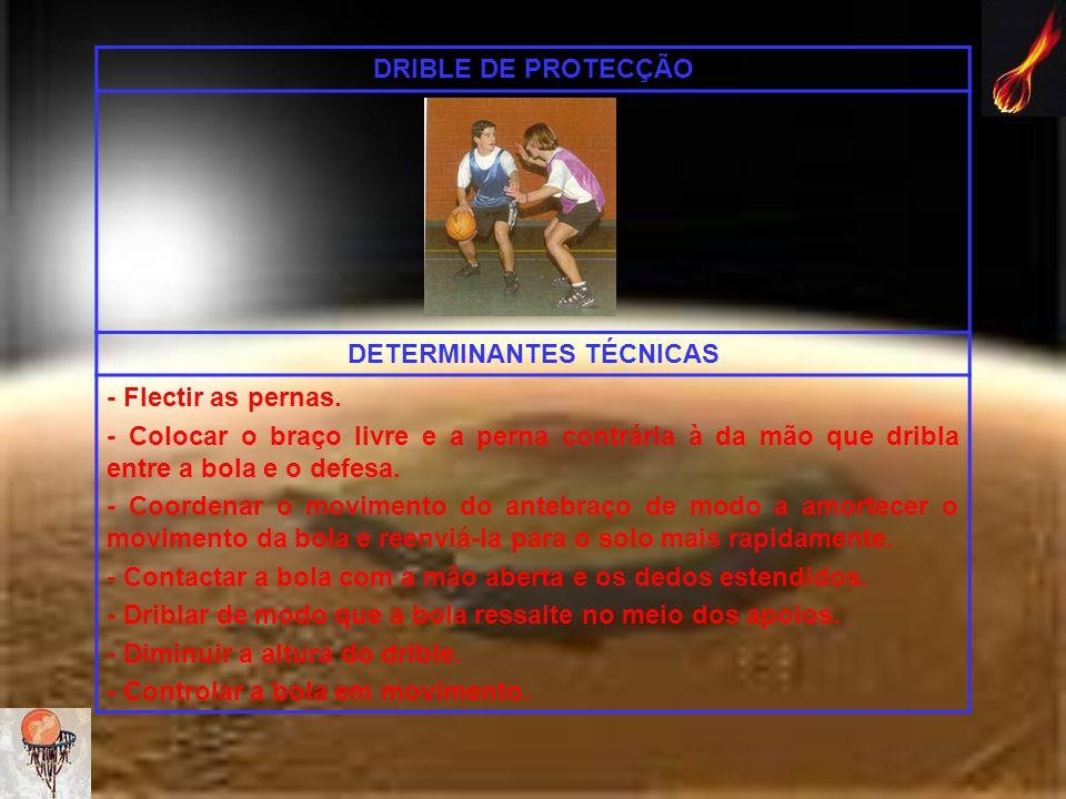 DRIBLE DE PROTECÇÃO DETERMINANTES TÉCNICAS - Flectir as pernas. - Colocar o braço livre e a perna contrária à da mão que dribla entre a bola e o defes