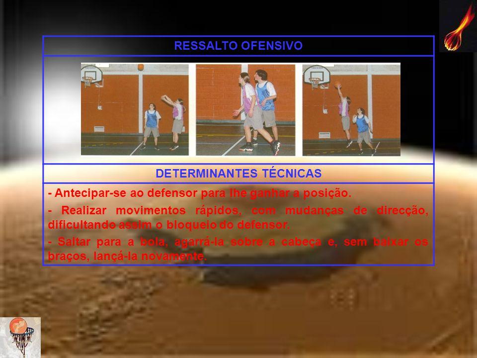 RESSALTO OFENSIVO DETERMINANTES TÉCNICAS - Antecipar-se ao defensor para lhe ganhar a posição. - Realizar movimentos rápidos, com mudanças de direcção