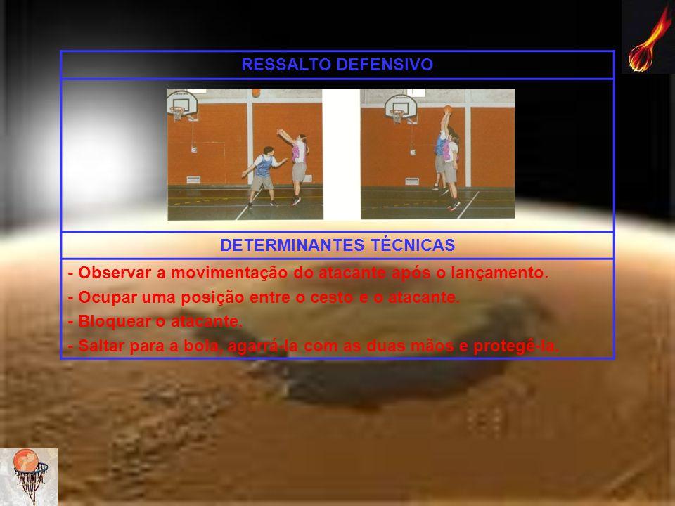 RESSALTO DEFENSIVO DETERMINANTES TÉCNICAS - Observar a movimentação do atacante após o lançamento. - Ocupar uma posição entre o cesto e o atacante. -