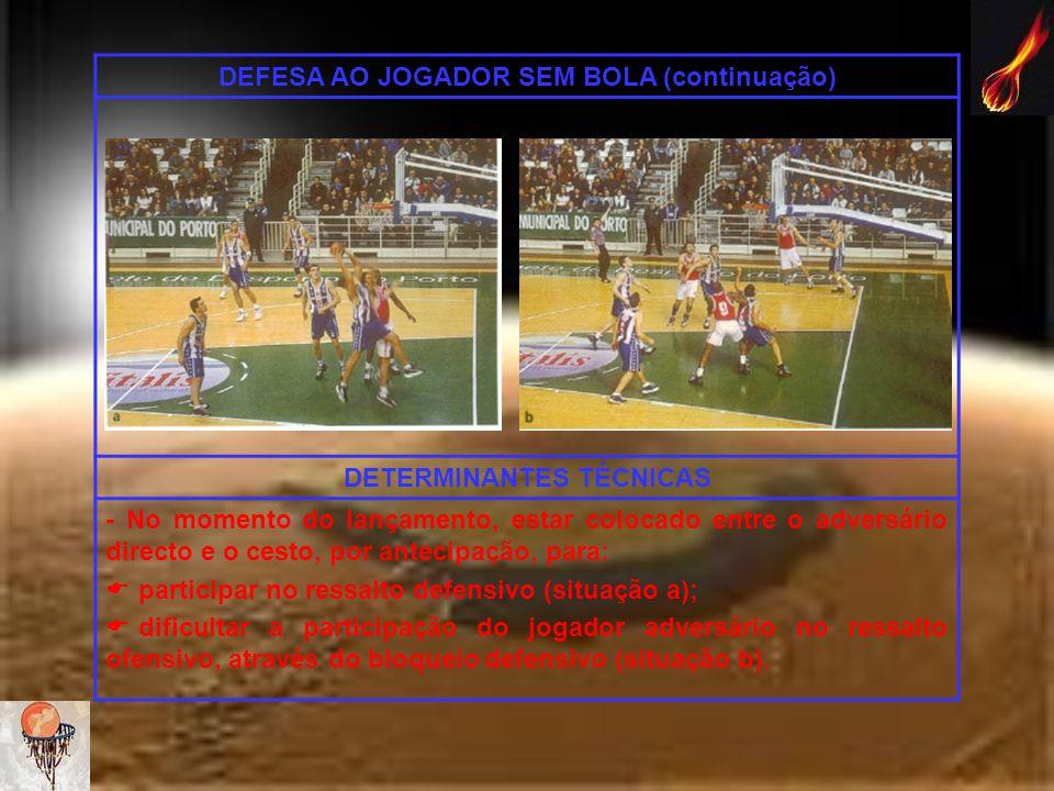 DEFESA AO JOGADOR SEM BOLA (continuação) DETERMINANTES TÉCNICAS - No momento do lançamento, estar colocado entre o adversário directo e o cesto, por a
