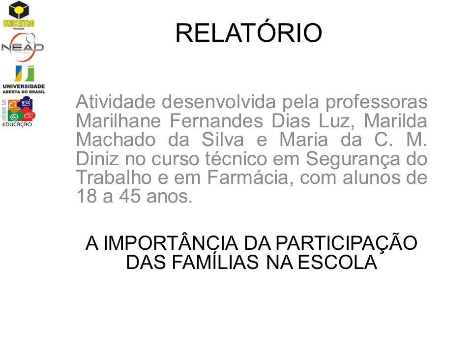 RELATÓRIO Atividade desenvolvida pela professoras Marilhane Fernandes Dias Luz, Marilda Machado da Silva e Maria da C. M. Diniz no curso técnico em Se