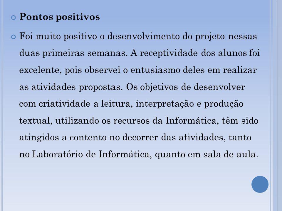 Pontos positivos Foi muito positivo o desenvolvimento do projeto nessas duas primeiras semanas.