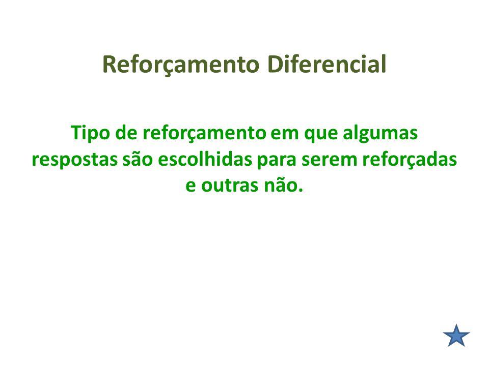 Reforçamento Diferencial Tipo de reforçamento em que algumas respostas são escolhidas para serem reforçadas e outras não.