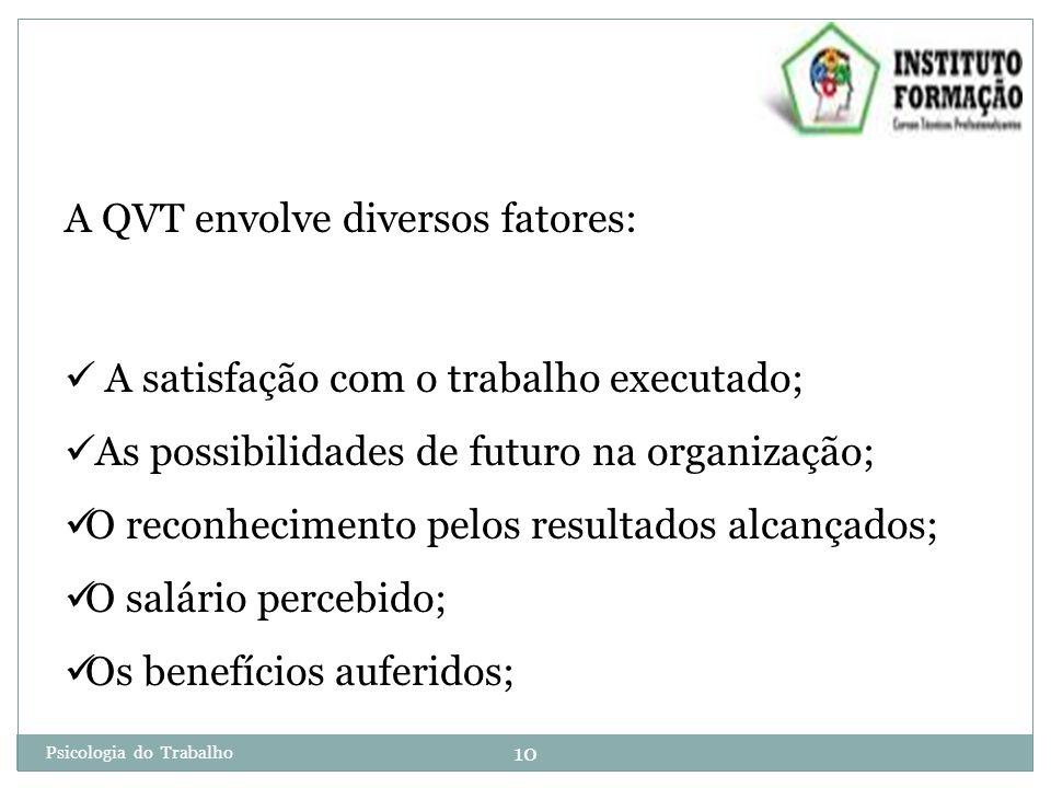 10 Psicologia do Trabalho A QVT envolve diversos fatores: A satisfação com o trabalho executado; As possibilidades de futuro na organização; O reconhecimento pelos resultados alcançados; O salário percebido; Os benefícios auferidos;