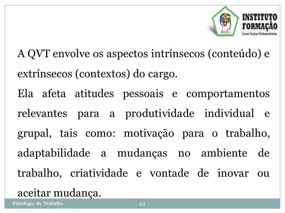 12 Psicologia do Trabalho A QVT envolve os aspectos intrínsecos (conteúdo) e extrínsecos (contextos) do cargo.