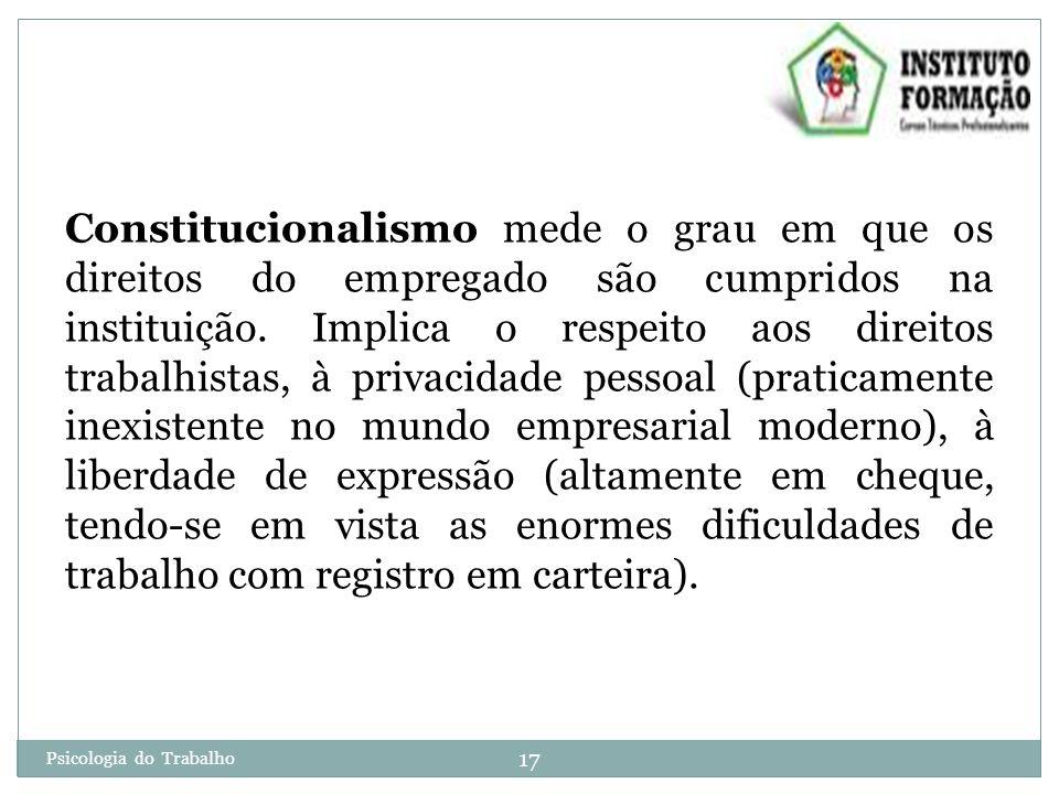 Psicologia do Trabalho 17 Constitucionalismo mede o grau em que os direitos do empregado são cumpridos na instituição.