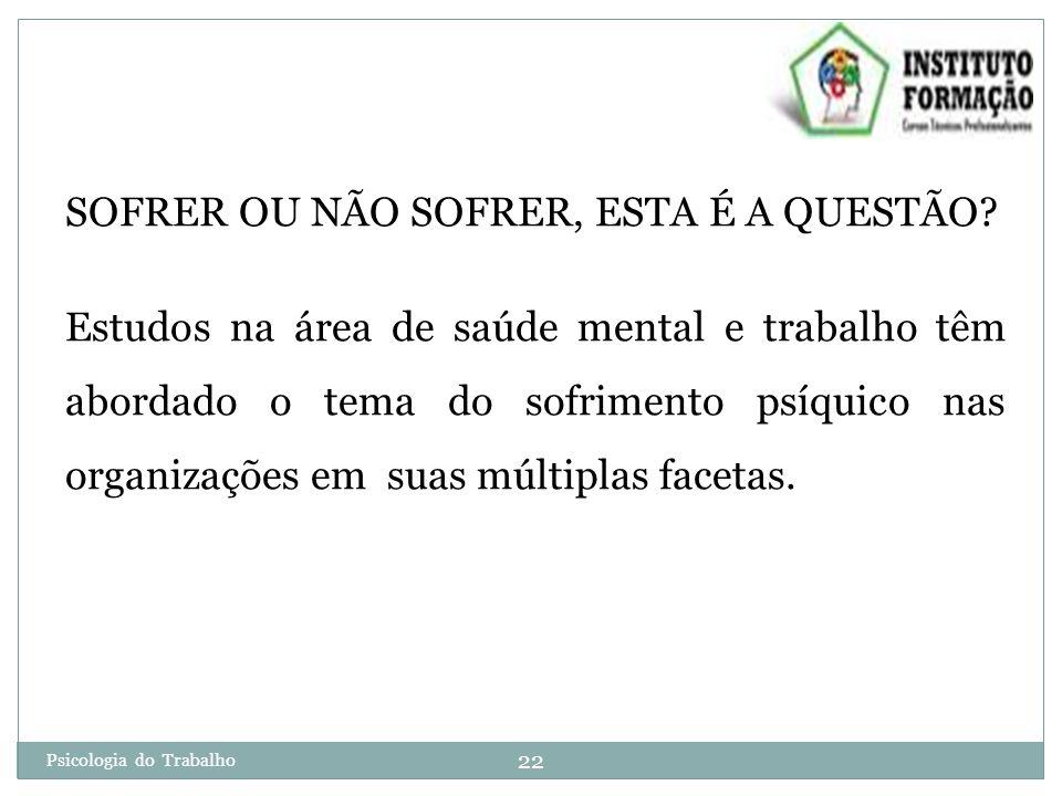 22 Psicologia do Trabalho SOFRER OU NÃO SOFRER, ESTA É A QUESTÃO.