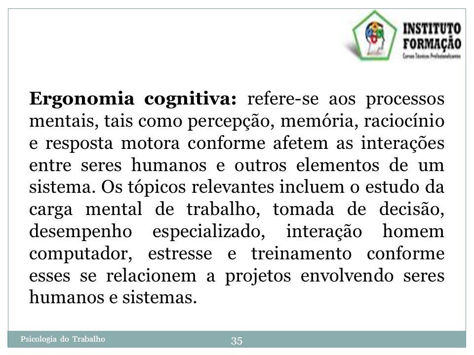 35 Psicologia do Trabalho Ergonomia cognitiva: refere-se aos processos mentais, tais como percepção, memória, raciocínio e resposta motora conforme afetem as interações entre seres humanos e outros elementos de um sistema.