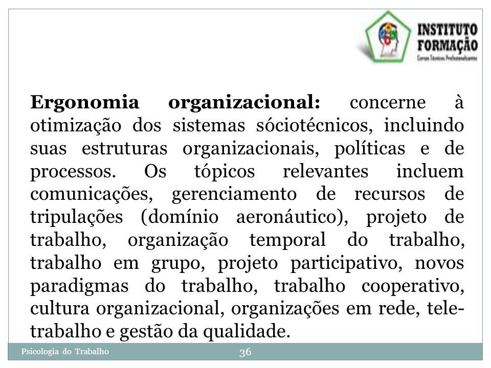 36 Psicologia do Trabalho Ergonomia organizacional: concerne à otimização dos sistemas sóciotécnicos, incluindo suas estruturas organizacionais, políticas e de processos.