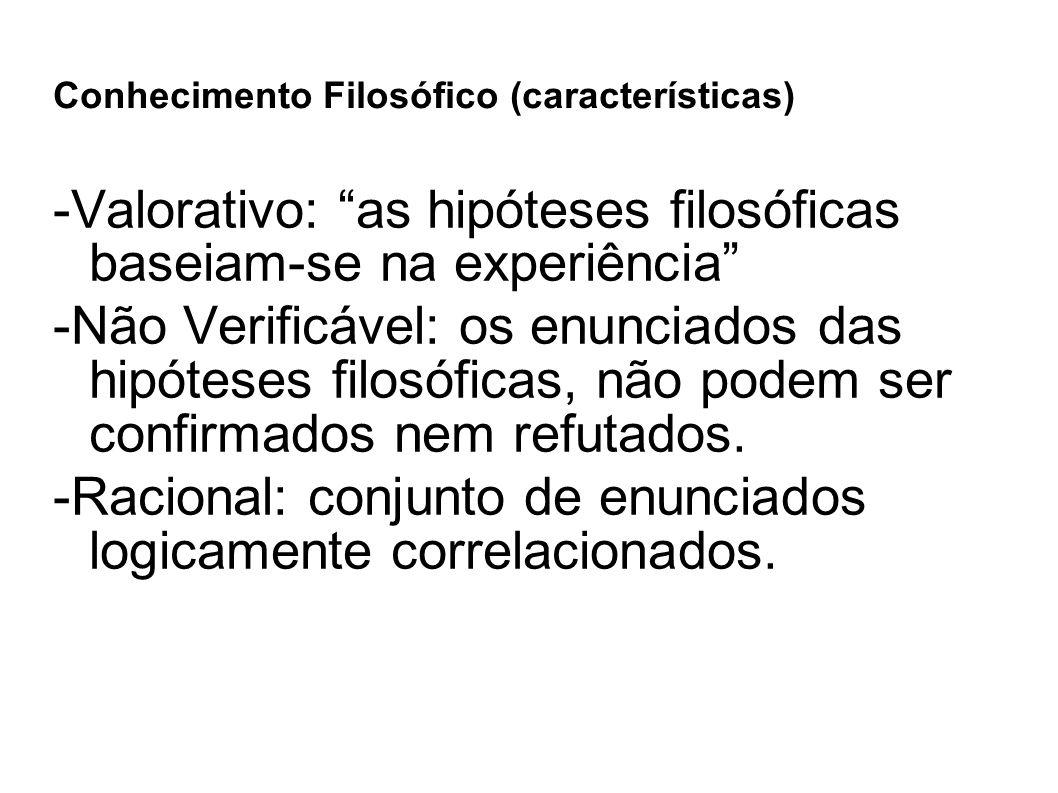 """Conhecimento Filosófico (características) -Valorativo: """"as hipóteses filosóficas baseiam-se na experiência"""" -Não Verificável: os enunciados das hipóte"""