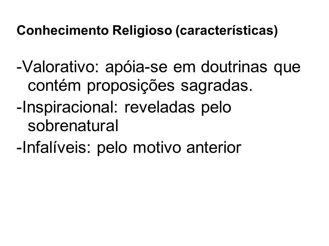 Conhecimento Religioso (características) -Valorativo: apóia-se em doutrinas que contém proposições sagradas. -Inspiracional: reveladas pelo sobrenatu