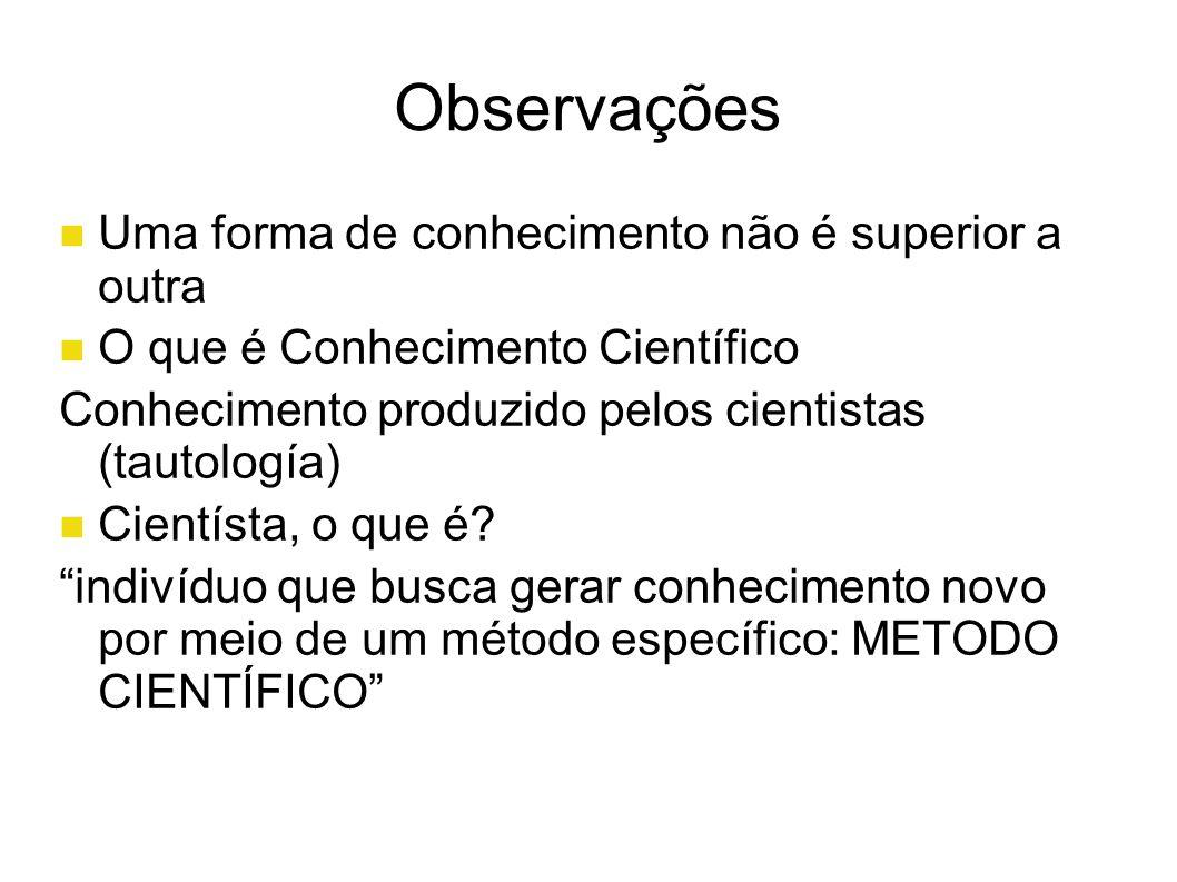 Observações Uma forma de conhecimento não é superior a outra O que é Conhecimento Científico Conhecimento produzido pelos cientistas (tautología) Cie