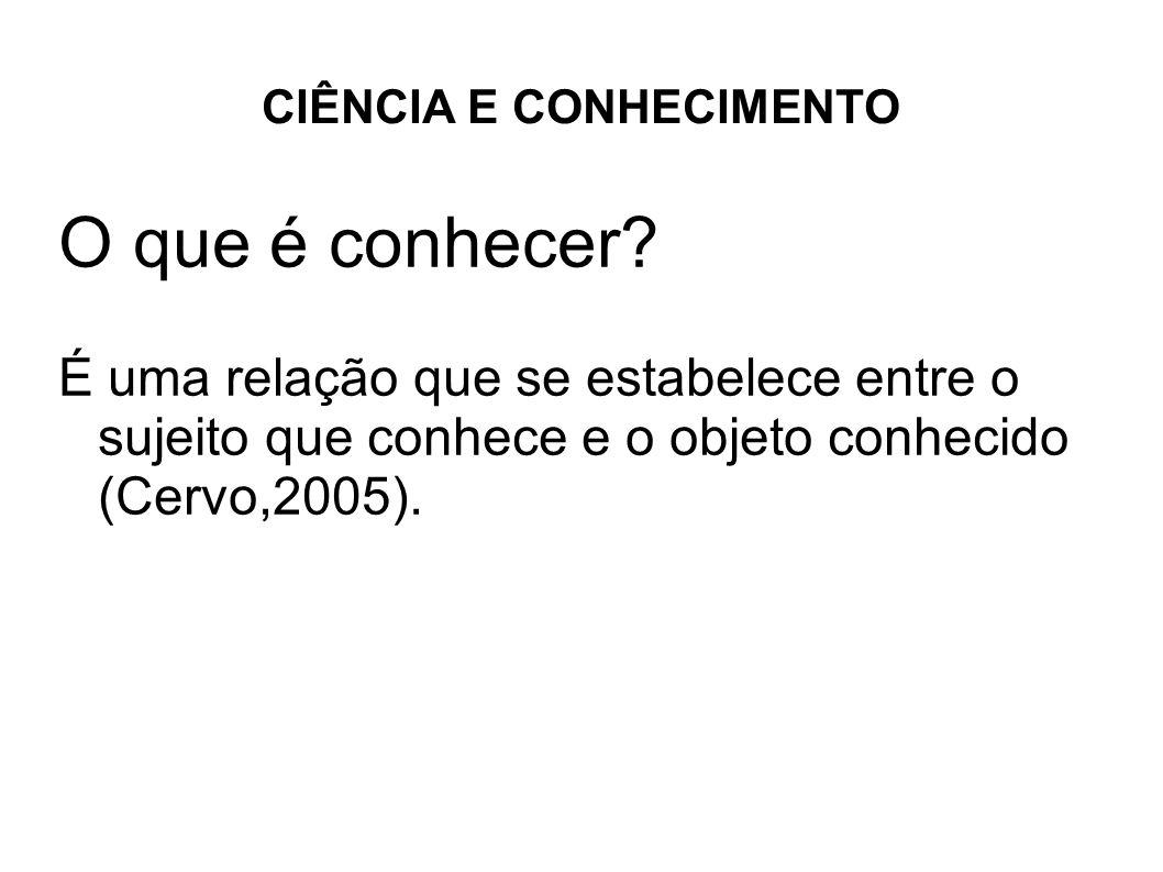 CIÊNCIA E CONHECIMENTO O que é conhecer? É uma relação que se estabelece entre o sujeito que conhece e o objeto conhecido (Cervo,2005).