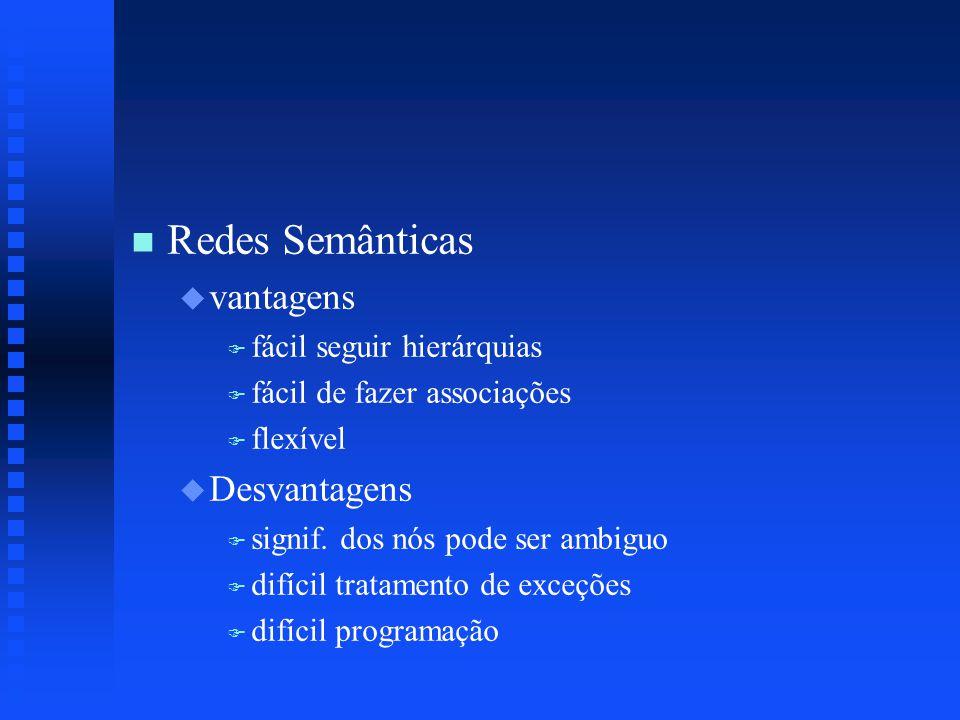 n n Redes Semânticas u u vantagens F F fácil seguir hierárquias F F fácil de fazer associações F F flexível u u Desvantagens F F signif.