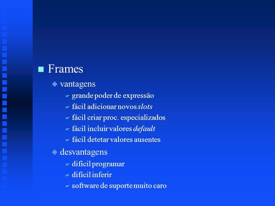 n n Frames u u vantagens F F grande poder de expressão F F fácil adicionar novos slots F F fácil criar proc.