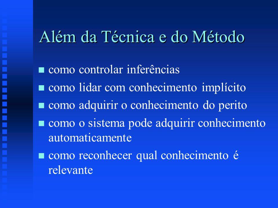 Além da Técnica e do Método n n como controlar inferências n n como lidar com conhecimento implícito n n como adquirir o conhecimento do perito n n como o sistema pode adquirir conhecimento automaticamente n n como reconhecer qual conhecimento é relevante