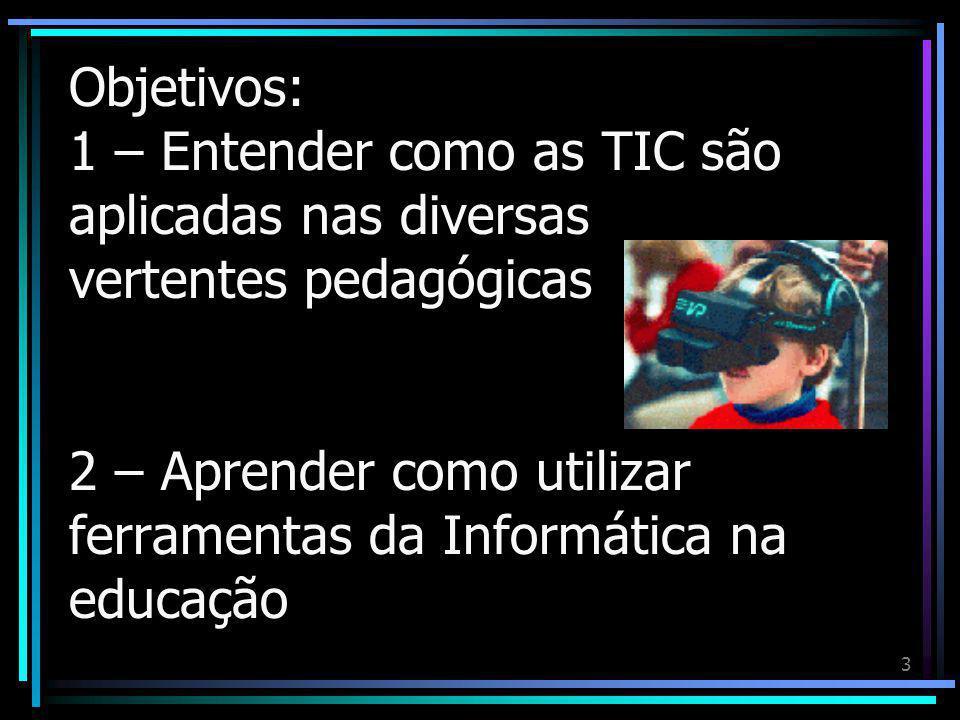 3 Objetivos: 1 – Entender como as TIC são aplicadas nas diversas vertentes pedagógicas 2 – Aprender como utilizar ferramentas da Informática na educação