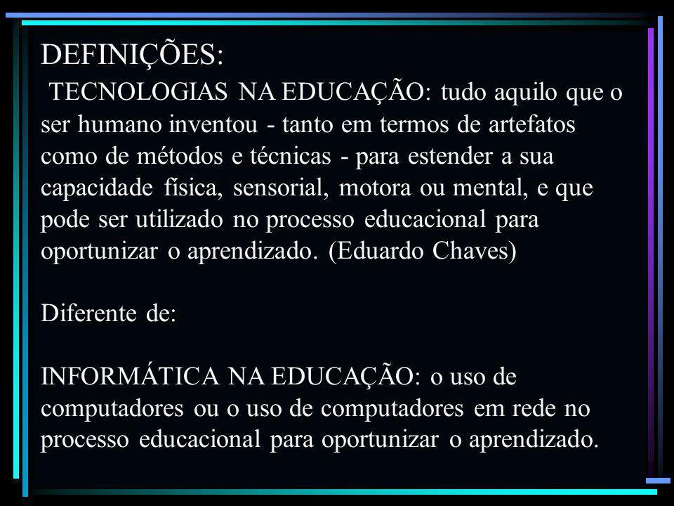 5 ALGUMAS DEFINIÇÕES IMPORTANTES: TECNOLOGIA: Ciência ou tratado acerca dos ofícios e das artes em geral. Aplicação dos conhecimentos científicos à pr