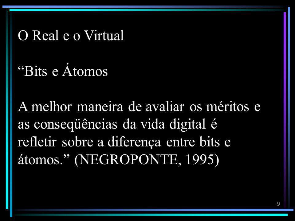 9 O Real e o Virtual Bits e Átomos A melhor maneira de avaliar os méritos e as conseqüências da vida digital é refletir sobre a diferença entre bits e átomos. (NEGROPONTE, 1995)