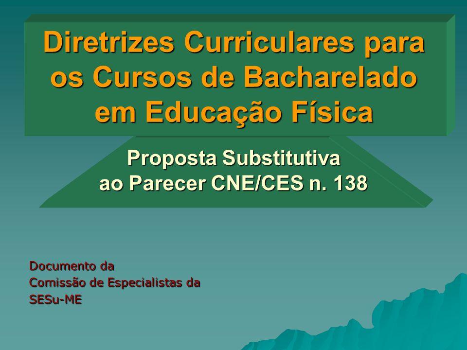 Diretrizes Curriculares para os Cursos de Bacharelado em Educação Física Documento da Comissão de Especialistas da SESu-ME Proposta Substitutiva ao Pa