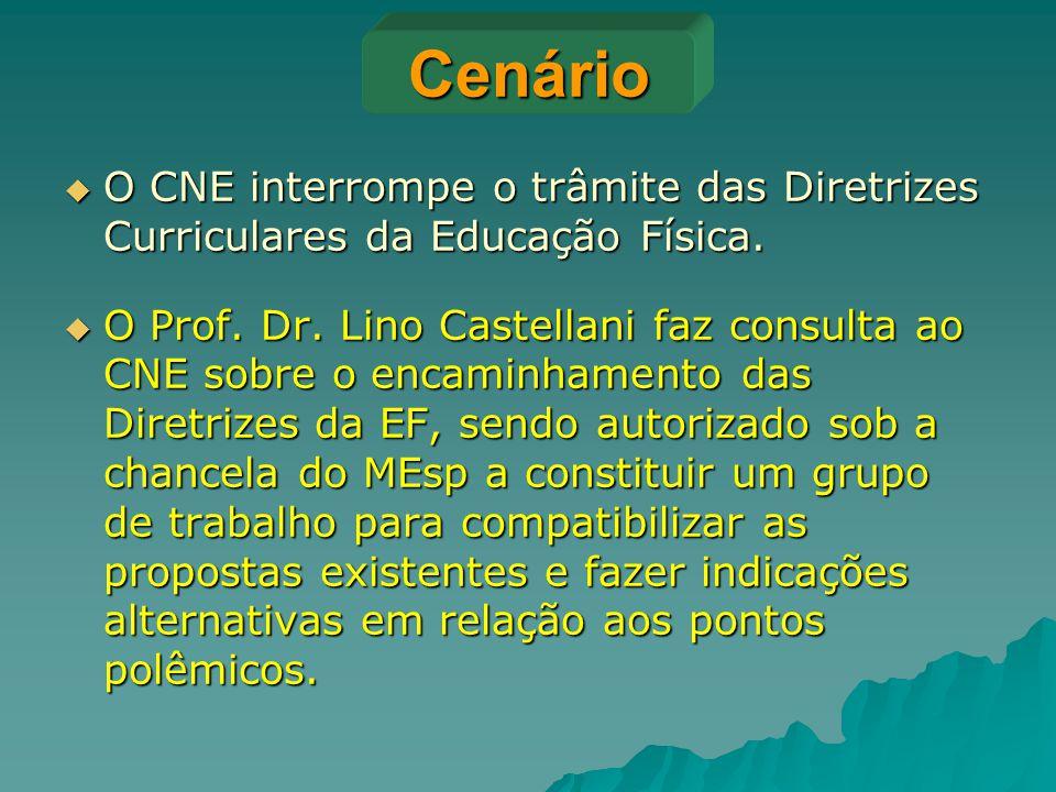 Cenário  O CNE interrompe o trâmite das Diretrizes Curriculares da Educação Física.  O Prof. Dr. Lino Castellani faz consulta ao CNE sobre o encamin