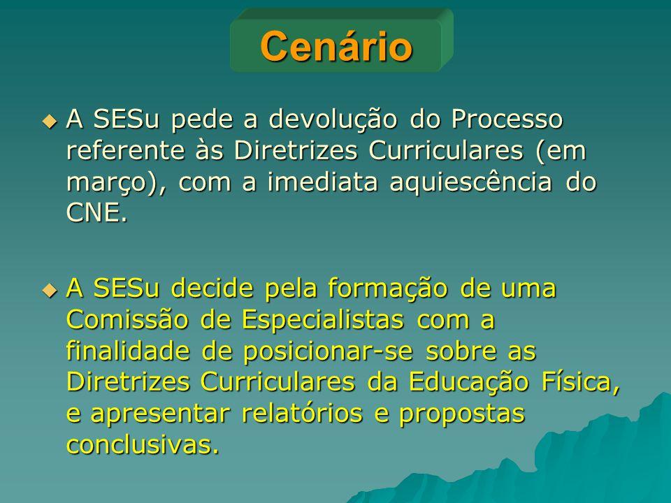Cenário  A SESu pede a devolução do Processo referente às Diretrizes Curriculares (em março), com a imediata aquiescência do CNE.  A SESu decide pel