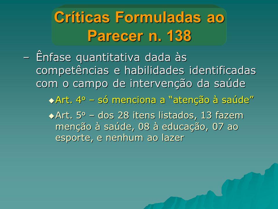 Críticas Formuladas ao Parecer n. 138 –Ênfase quantitativa dada às competências e habilidades identificadas com o campo de intervenção da saúde  Art.