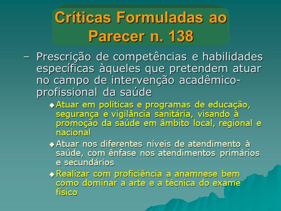 Críticas Formuladas ao Parecer n. 138 –Prescrição de competências e habilidades específicas àqueles que pretendem atuar no campo de intervenção acadêm