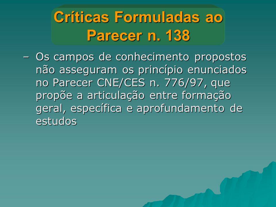 Críticas Formuladas ao Parecer n. 138 –Os campos de conhecimento propostos não asseguram os princípio enunciados no Parecer CNE/CES n. 776/97, que pro